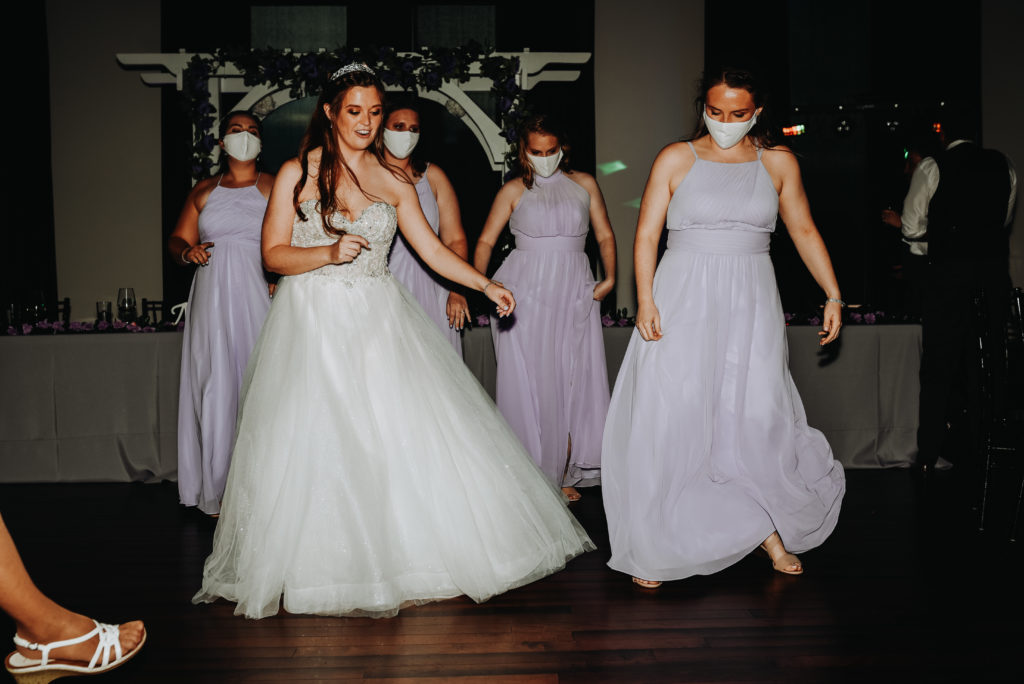 Dancing with the bride and the bridesmaids