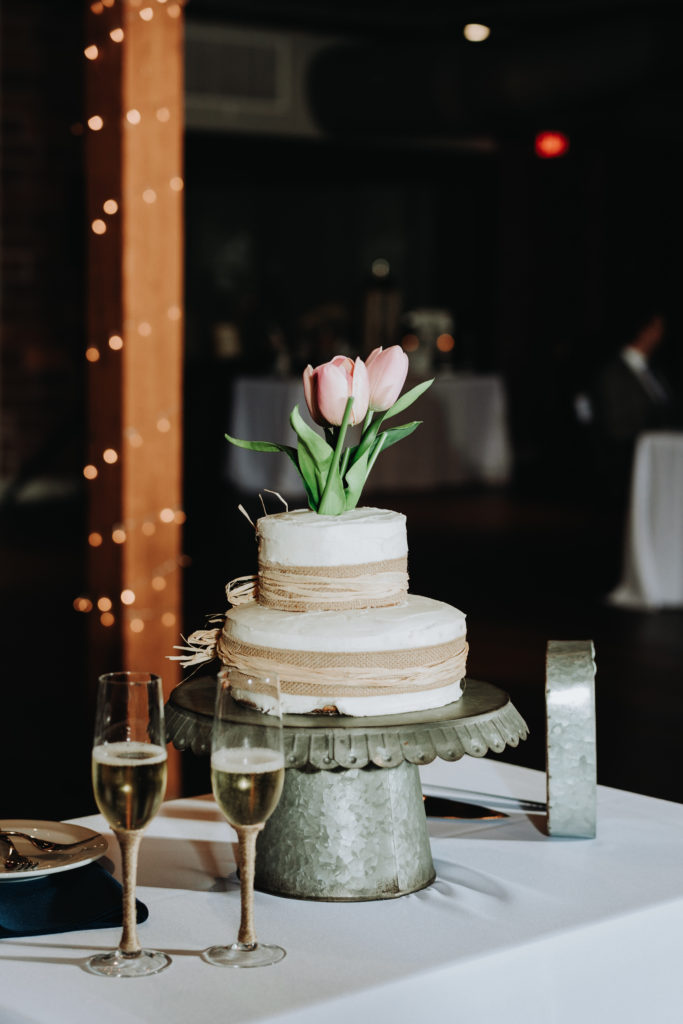 Wedding photo gluten-free wedding cake Garment Factory, Franklin, IN